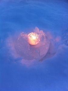 Ice lantern made by Adrienne Wyper